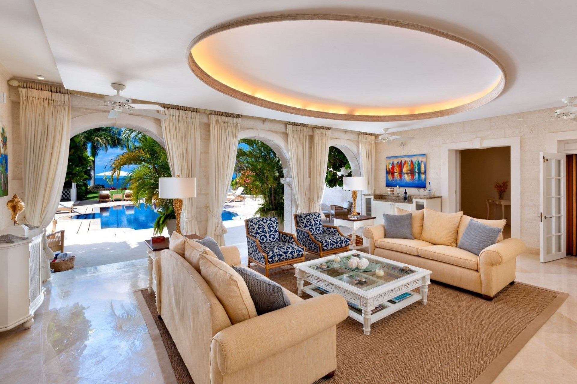 Lounge Area Looking to Pool 5 Bedroom Villa Sugar Hill, Barbados with Private Pool, Putting Green & Sea Views