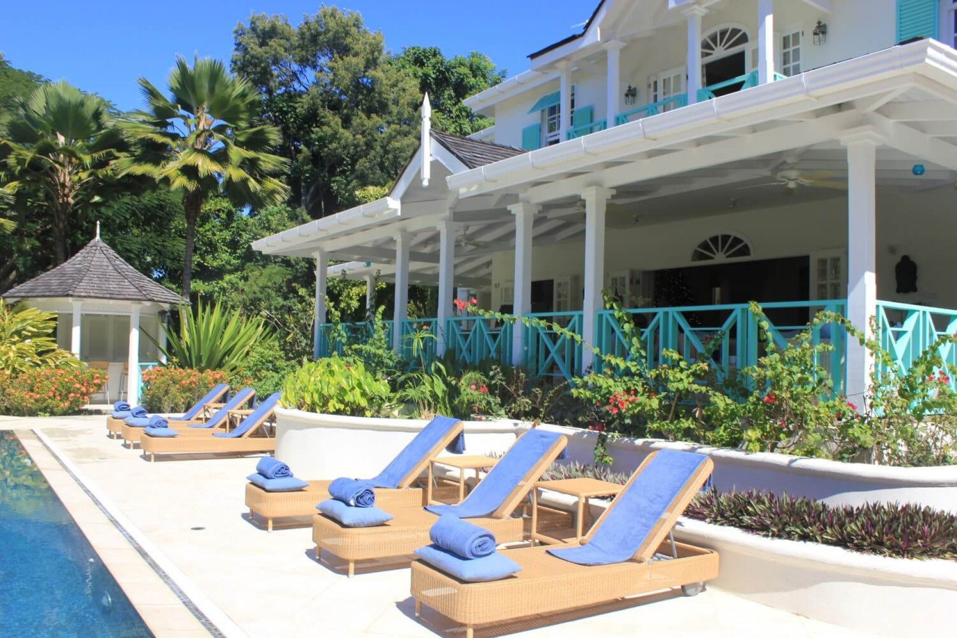 Sunloungers in front of 6 Bedroom Villa in Sandy Lane with Private Pool & Tropical Garden