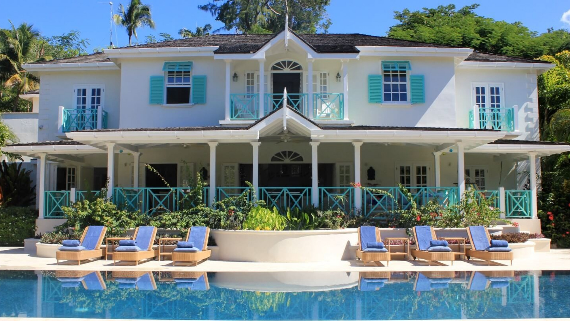 Pool in front of 6 Bedroom Villa in Sandy Lane with Private Pool & Tropical Garden