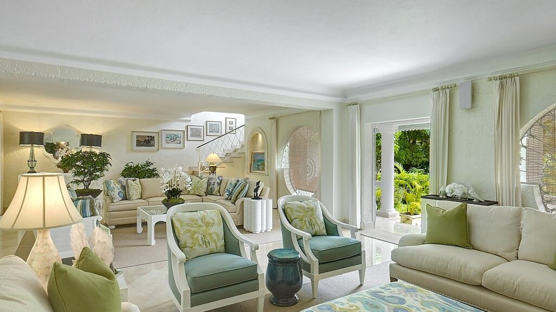 White and GReen Floral Lounge 8 Bedroom Beachfront Villa in St James with Speed Boat & Private Pool