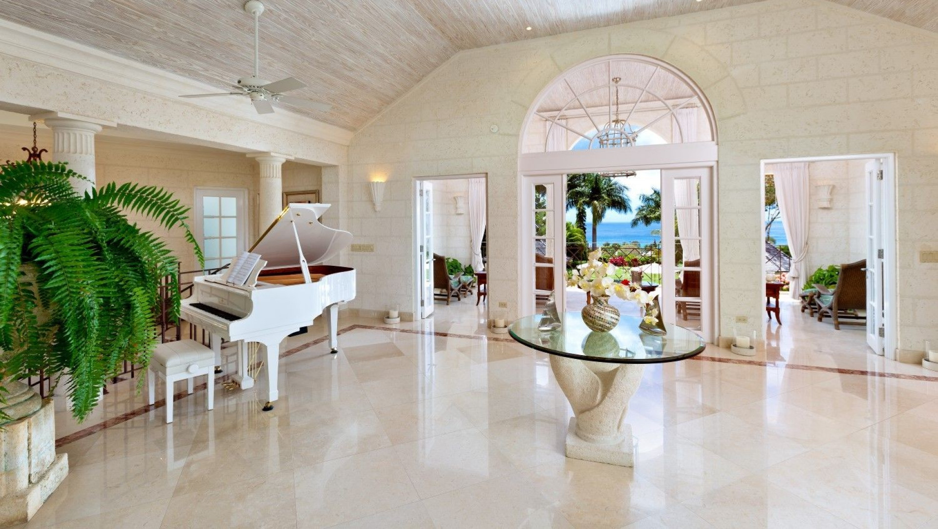 Grand Piano in Marble Room 5 Bedroom Villa Sugar Hill, Barbados with Private Pool, Putting Green & Sea Views