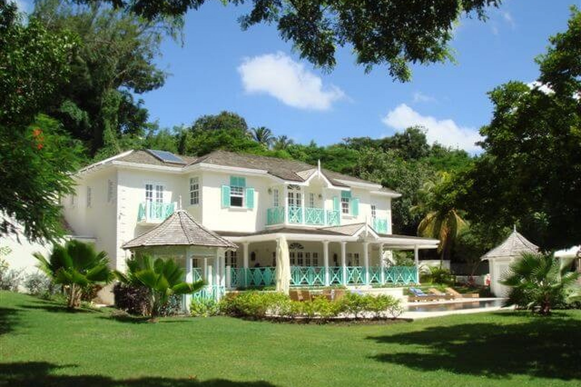 Gardens in front of 6 Bedroom Villa in Sandy Lane with Private Pool & Tropical Garden